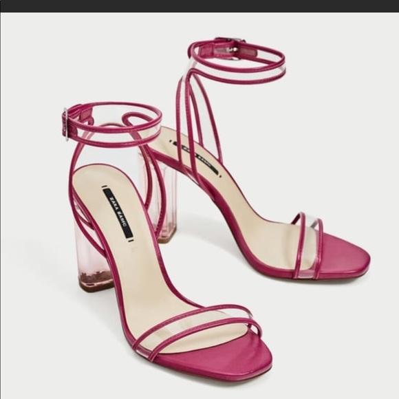 f82df281f12 Zara clear lucite sandals hot pink 2018 Sz 37